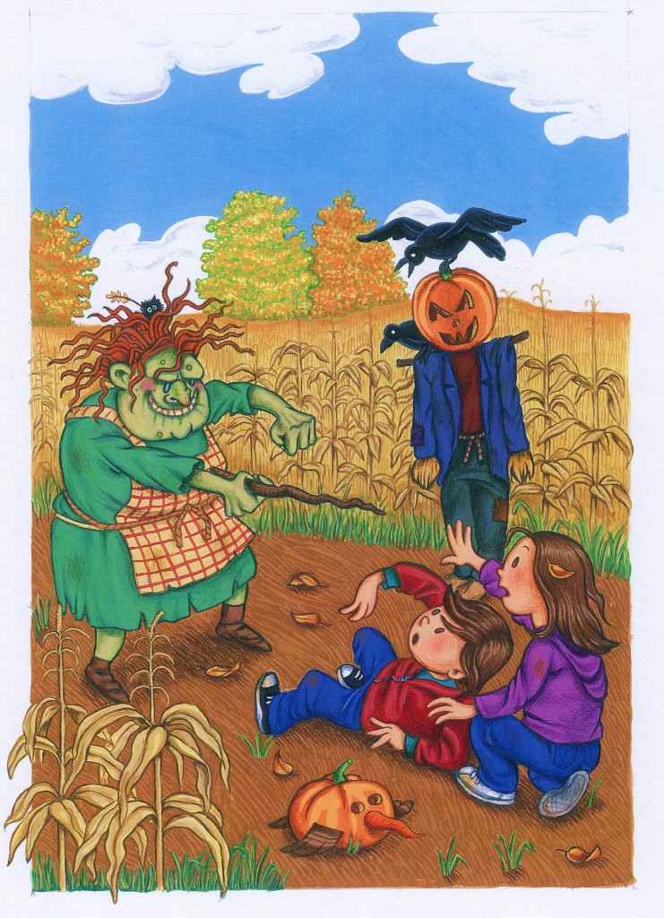 Harry and Grace fight for their lives in the pumpkin patch gouache