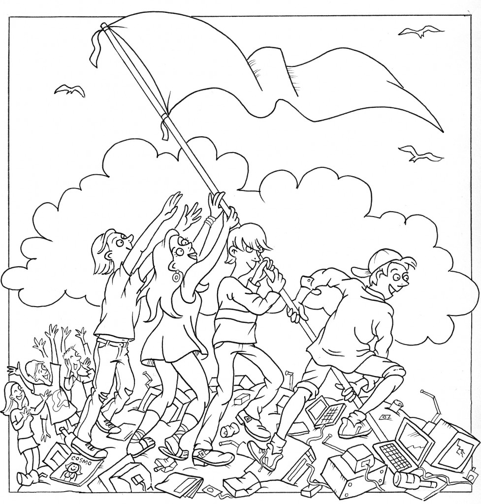 Teens on a landfill