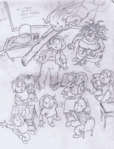 Scene from 'The Witch of Golden Acres' sketched on the set of TV show, 'Pysch'