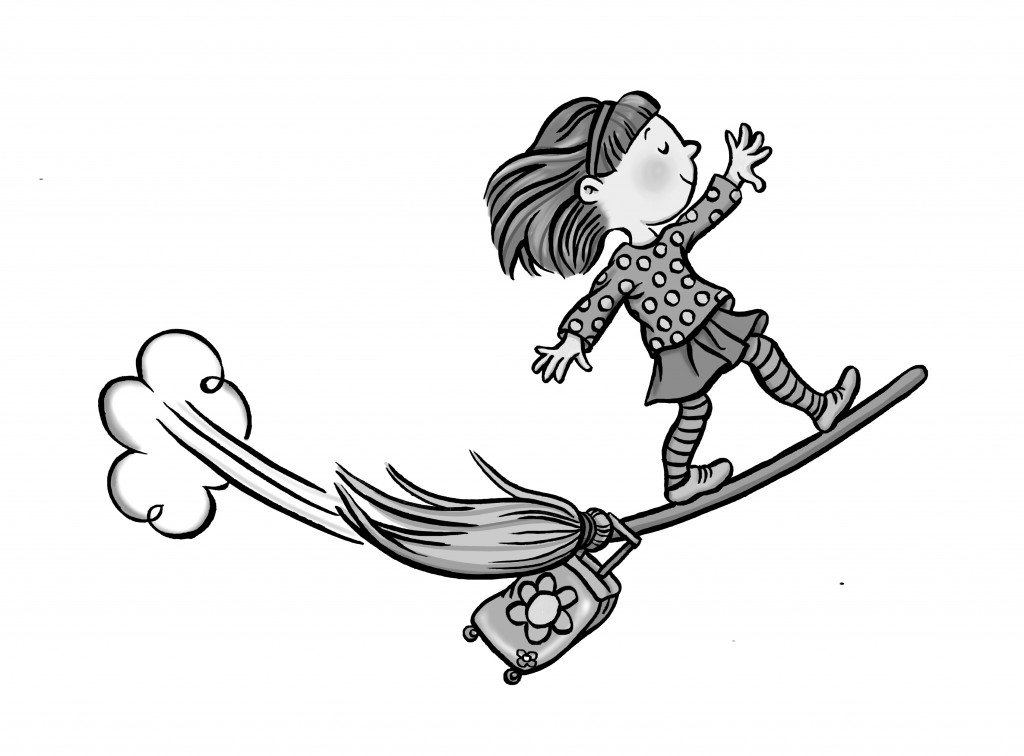 Little girl riding on a magic broom stick